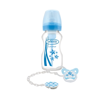 Dr. Brown's Options Wide Neck Bottle 270ml + Soother Gift Set - Blue