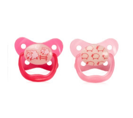 Dr. Brown's PreVent Glow In The Dark Butterfly Shield Pacifier Pink 0-6M 2Pk