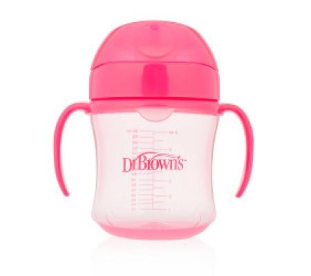 Dr. Brown's Soft Spout Transition Cup with Handles Pink 6M+ 180ml