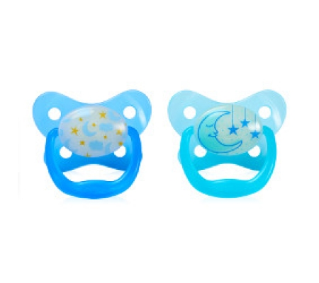 Dr. Brown's PreVent Glow In The Dark Butterfly Shield Pacifier Blue 6-12M 2Pk