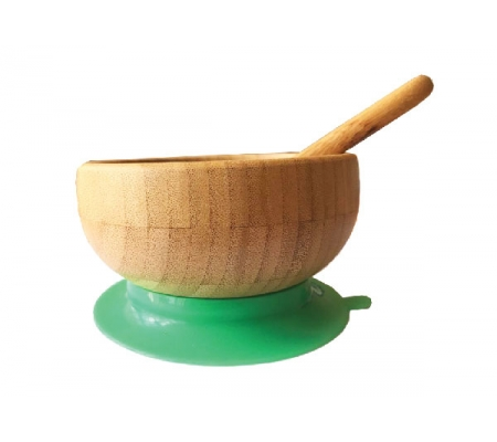 Kiddies & Co Bamboo Bowl & Spoon - Green