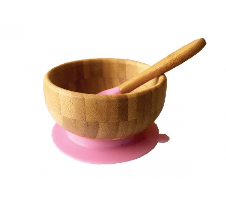 Kiddies & Co Bamboo Bowl & Spoon - Pink