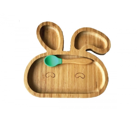 Kiddies & Co Bunny Bamboo Plate - Green