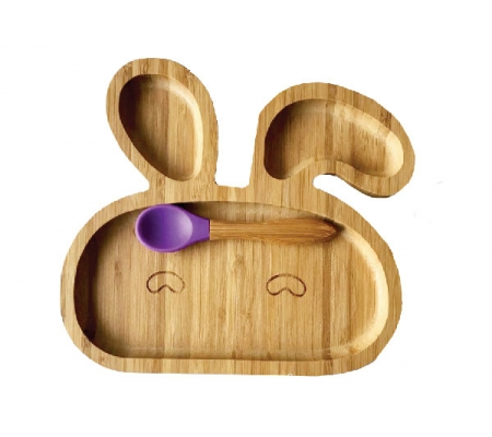 Kiddies & Co Bunny Bamboo Plate - Purple