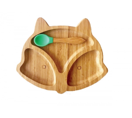 Kiddies & Co Fox Bamboo Plate - Green