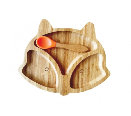 Kiddies & Co Fox Bamboo Plate - Orange