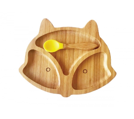Kiddies & Co Fox Bamboo Plate - Yellow
