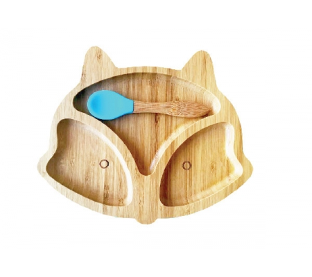 Kiddies & Co Fox Bamboo Plate - Blue