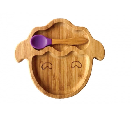 Kiddies & Co Sheep Bamboo Plate - Purple