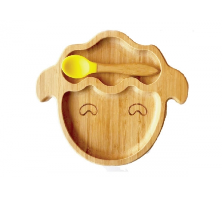 Kiddies & Co Sheep Bamboo Plate - Yellow