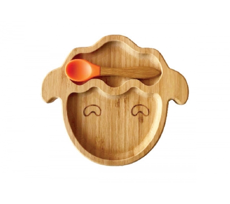 Kiddies & Co Sheep Bamboo Plate - Orange