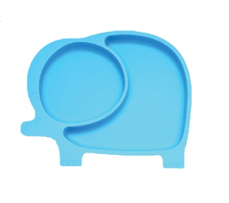 Kiddies & Co Elephant Silicone Plate - Blue