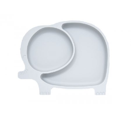 Kiddies & Co Elephant Silicone Plate - Grey