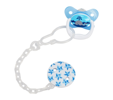 Dr Brown's Plastic Pacifier Teether/Clip - Blue