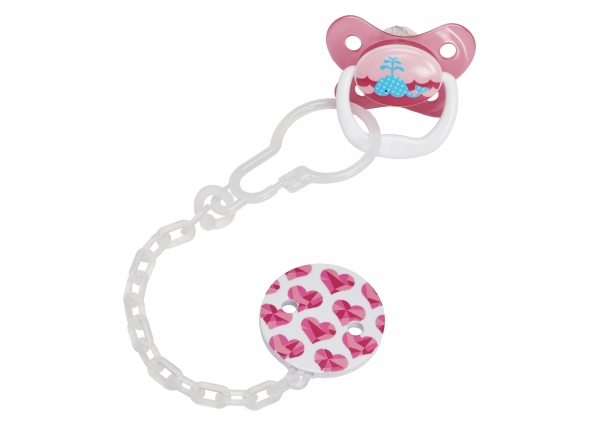 Dr Brown's Plastic Pacifier Teether/Clip - Pink
