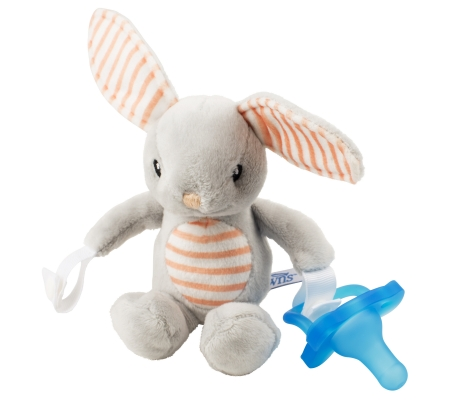 Dr Brown's Bunny Lovey w/ Blue One - Piece Pacifier