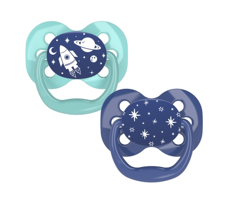 Dr Brown's Advantage Pacifier Glow in the Dark - Stage 1 Blue 0-6M 2PK