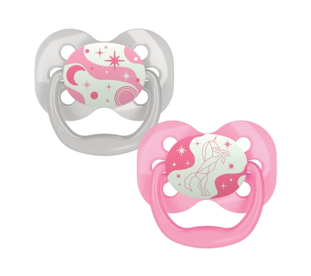 Dr Brown's Advantage Pacifier Glow in the Dark - Stage 1 Pink 0-6M 2PK