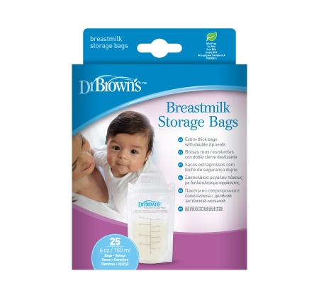 Dr Brown's Breastmilk Storage Bag (180ml) 25 - Pack