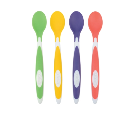 Dr. Brown's Soft - Tip Spoon 4- Pack (Coral, Turquoise, Gray, Blue)