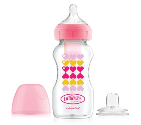 Dr Brown's 270ml Options+ Transition Bottle - Pink Hearts