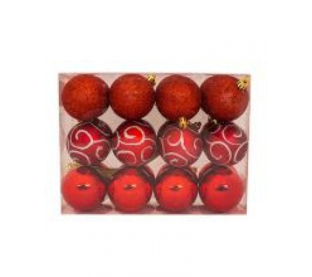 Sirocco 6cm Red Christmas Baubles, 24pcs