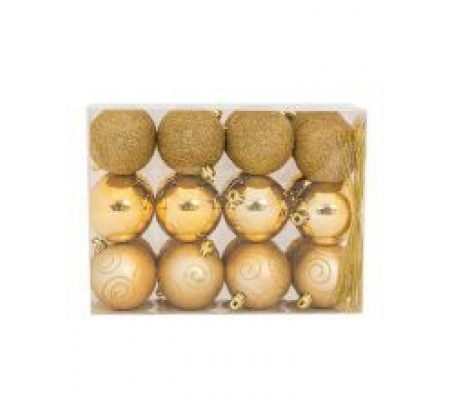 Sirocco 6cm Gold Christmas Baubles, 24pcs