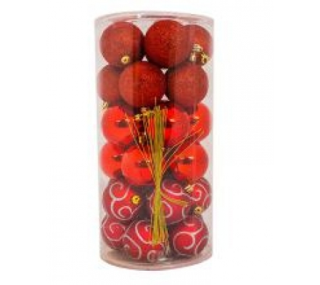 Sirocco 6cm Red Christmas Baubles, 30pcs