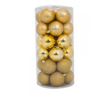 Sirocco 6cm Gold Christmas Baubles, 30pcs
