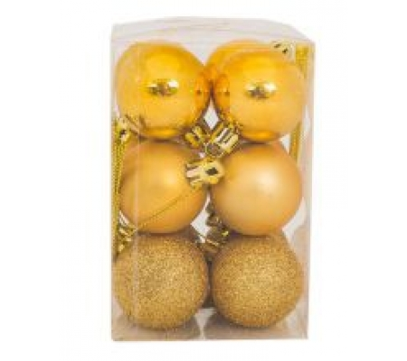 Sirocco 4cm Gold Christmas Baubles, 12pcs
