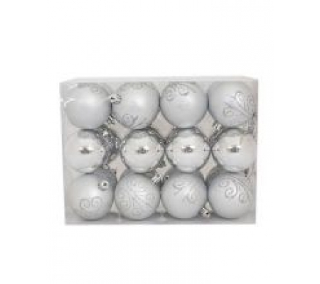 Sirocco 6cm Silver Christmas Baubles, 24pcs